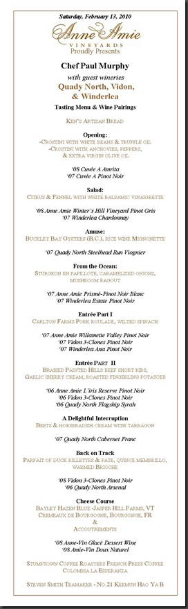 Winter Winemaker's Dinner Feb 2010